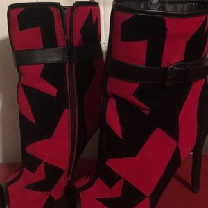 Red and Black ankle booties